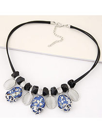 Fashion Blue Oval Pendant Decorated Double Layer Design Alloy Bib Necklaces