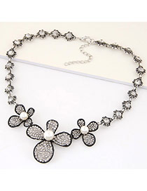 Fashion Black+white Three Clovers Decorated Simple Design Alloy Bib Necklaces