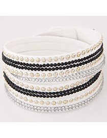 Fashion Black+white Diamond Decorated Multilayer Design Alloy Korean Fashion Bracelet