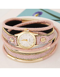 Temperamental Pink Metal Rivet&chain Decorated Multilayer Design Alloy Ladies Watches