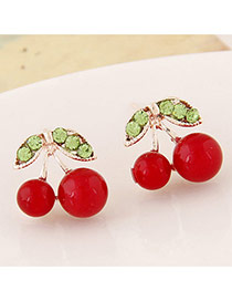 Sweet Red+green Diamond Decorated Cherry Shape Design Alloy Stud Earrings