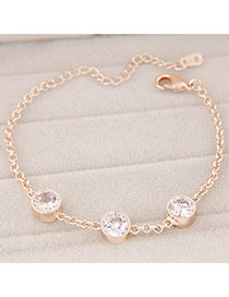 Fashion Gold Color Diamond Decorated Simple Design Alloy Korean Fashion Bracelet
