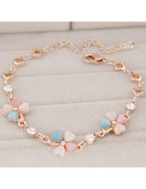 Fashion Multicolor Diamond Decorated Clover Shape Design Alloy Korean Fashion Bracelet
