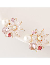 Fashion White Diamond Decorated Flower Shape Design Alloy Stud Earrings