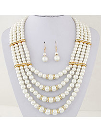 Fashion White Pearl Decorated Multilayer Design Alloy Jewelry Sets