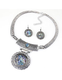 Fashion Silver Color Round Pendant Decorated Hollow Out Design Alloy Jewelry Sets