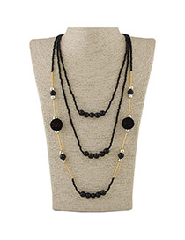 Fashion Black Beads Decorated Multilayer Design Alloy Beaded Necklaces