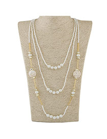 Fashion White Beads Decorated Multilayer Design Alloy Beaded Necklaces