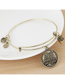 Fashion Bronze Flag&round Pendant Decorated Simple Design Alloy Fashion Bangles
