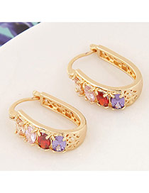 Sweet Multicolor+gold Color Diamond Decorated Hollow Out Design Cuprum Korean Earrings