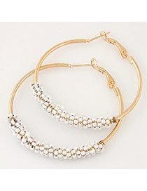 Fashion White Beads Decorated Circle Design Alloy Korean Earrings