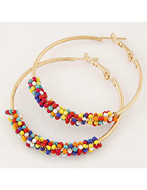 Fashion Multicolor Beads Decorated Circle Design Alloy Korean Earrings