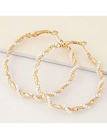 Fashion White Beads Decorated Twine Design Alloy Korean Earrings