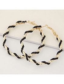 Fashion Black Beads Decorated Twine Design Alloy Korean Earrings