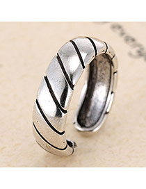 Retro Antique Silver Stripe Decorated Opening Design Cuprum Korean Rings