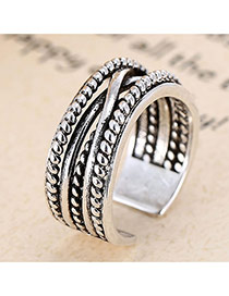 Retro Antique Silver Cross Decorated Multilayer Opening Design Cuprum Korean Rings