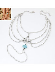 Vintage Light Blue Square Stone Shape Decorated Multilayer Design