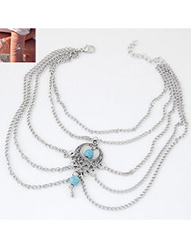 Vintage Light Blue Beads Decorated Multilayer Design Alloy Body Chains