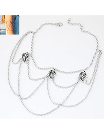Vintage Anti-silver Color Leaf Shape Decorated Multilayer Design