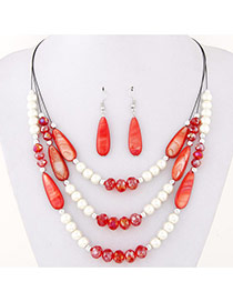 Fashion Red Water Drop Shape Beads Decorated Multilayer Design Alloy Jewelry Sets