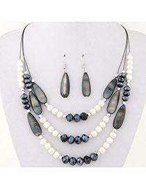 Fashion Black Water Drop Shape Beads Decorated Multilayer Design Alloy Jewelry Sets