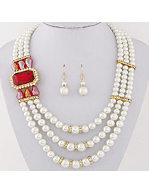 Fashion Red Square Diamond&pearl Decorated Multilayer Design Alloy Jewelry Sets