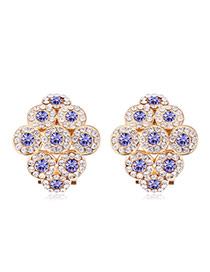 Luxurious Champagne Gold+tanzanite Diamond Decorated Rhombus Shape Design Alloy Crystal Earrings
