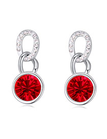 Luxurious Light Red Diamond Decorated Simple Design Alloy Crystal Earrings