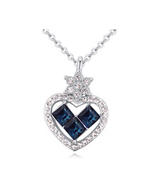 Luxurious Dark Blue Diamond Decorated Heart Pendant Design Alloy Crystal Necklaces