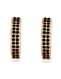 Luxurious Champagne Gold+black Double Layer Diamond Decorated Simple Design Alloy Crystal Earrings