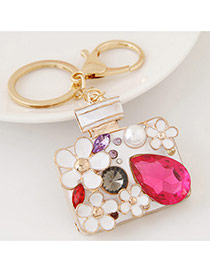 Fashion Multi-colour Diamond Decorated Perfume Bottle Shape Design Alloy Fashion Keychain