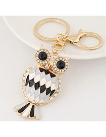 Fashion Black+white Diamond Decorated Owl Shape Design Alloy Fashion Keychain