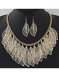 Trendy Gold Color Hollow Out Leaf Pendant Decorated Short Chain Design