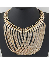 Exaggerate Gold Color Metal Chain Peadant Decorated Collar Design
