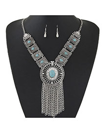 Trendy Silver Color+green Gemstone &tassel Pendant Decorated Short Chain Design