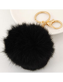 Fashion Black Fur Ball Pendant Decorated Simple Design