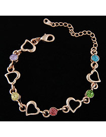 Fashion Multi-colour Heart Shape Decorated Simple Design Alloy Korean Fashion Bracelet