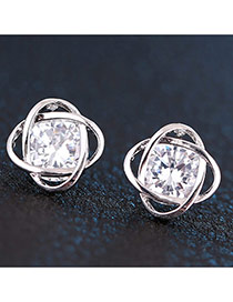 Sweet Silver Color Square Diamond Decorated Hollw Out Design Zircon Stud Earrings