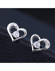 Sweet Silver Color Diamond Decorated Hollow Out Heart Shape Design Zircon Stud Earrings