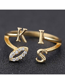 Sweet Gold Color Lips&kiss Letter Decorated Opening Design Zircon Korean Rings