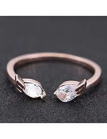 Sweet Rose Gold Angel Wings Decorated Opening Design Zircon Korean Rings