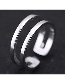 Sweet Silver Color Double Layer Decorated Opening Design Cuprum Korean Rings