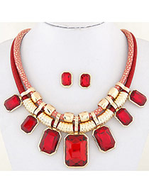 Fashion Red Square Shape Decorated Double Layer Design