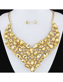 Exaggerated Gold Color Full Diamond Decorated Flower Shape Design
