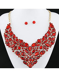 Exaggerated Red Full Diamond Decorated Flower Shape Design