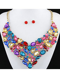 Exaggerated Multi-color Full Diamond Decorated Flower Shape Design