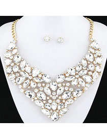 Exaggerated White Full Diamond Decorated Flower Shape Design