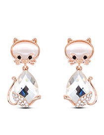 Cute White Diamond Decorated Cat Shape Design Alloy Stud Earrings