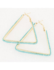 Fashion Blue Beads Weaving Decorated Triangle Shape Design Alloy Korean Earrings