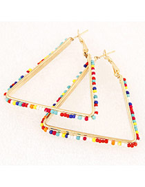 Fashion Multi-color Beads Weaving Decorated Triangle Shape Design Alloy Korean Earrings